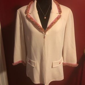 St. John Collection fringed trim blazer/jacket